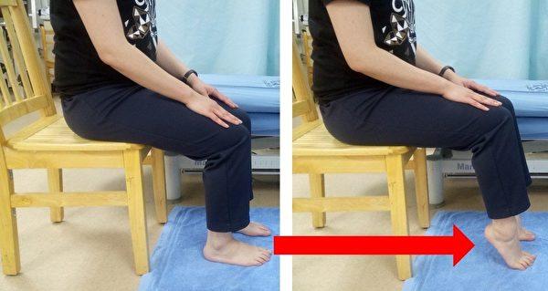 小腿后侧肌力训练(坐姿)。 (台大医院新竹分院提供)