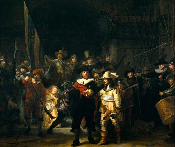 倫勃朗,《夜巡》(De Nachtwacht),布面油畫,作於1642年,363 × 437 公分,荷蘭阿姆斯特丹國立博物館藏。(公有領域)