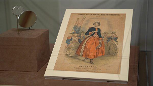 惠特曼欣赏的瑞典女高音歌唱家珍妮·林德(Jenny Lind)的肖像,正在摩根图书馆与博物馆展出。(宋昇桦/新唐人电视台)