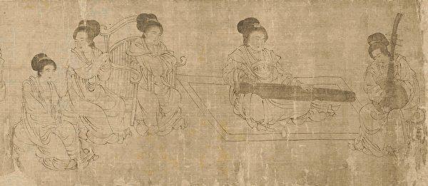 图为五代周文矩《宫中图》宋摹本(局部)。(公有领域)
