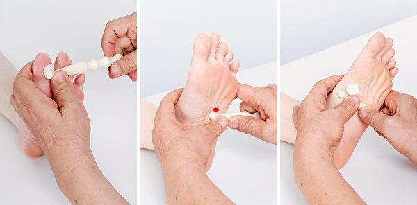 按摩腦垂體、脾、胃的腳底反射區,幫助減重。(商周出版提供)