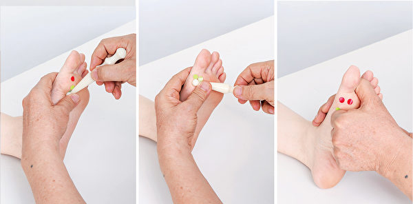 按摩甲狀腺反射區,有節結處用扣拉。(商周出版提供)