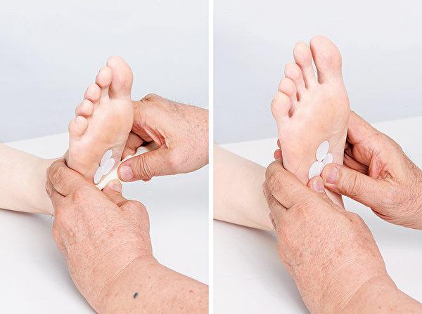 腳底按摩的肝膽反射區按摩法。(商周出版提供)