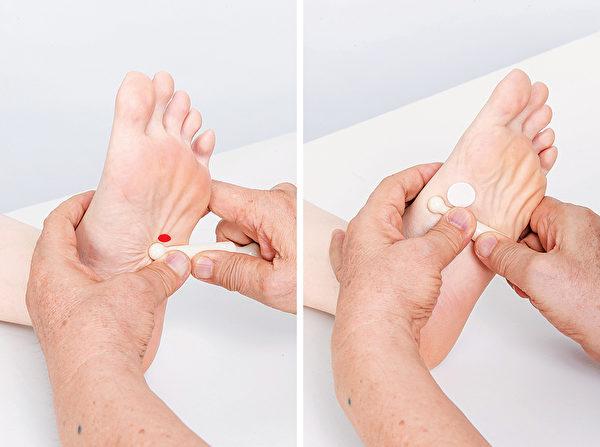 按摩腳底的脾反射區。(商周出版提供)