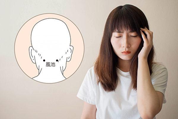 头晕、眩晕是生活中常见的症状,按摩头部穴位就可以缓解。(Shutterstock、温嫔容/大纪元制图)