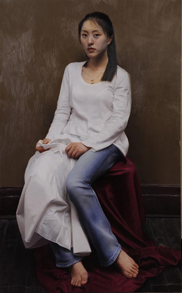 """亦真,《新装》,2008年首届""""全世界华人人物写实油画大赛""""银奖作品。(新唐人电视台提供)"""
