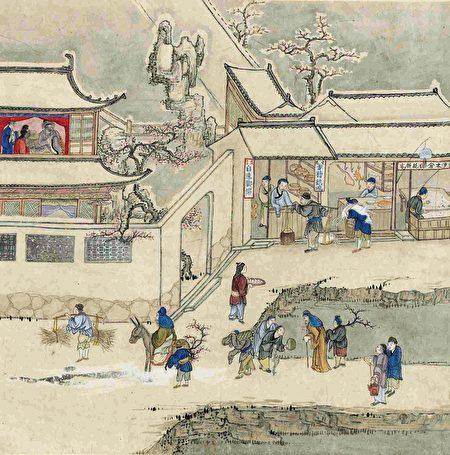 苏轼私下嘱咐屠户,给他留下没有人要的羊脊骨。示意图:清绘本苏州市景商业图册。(公有领域)