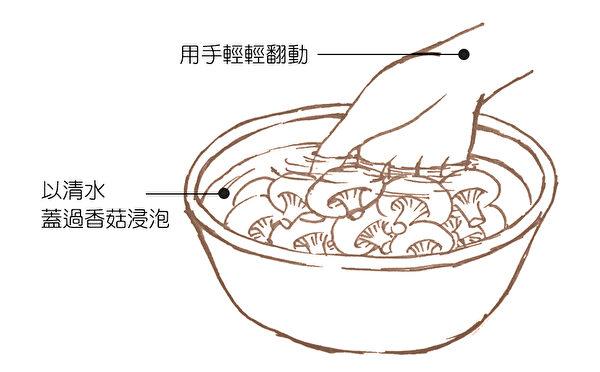 通过浸泡的方式清洗掉菇类上面的农药。(商周出版提供)