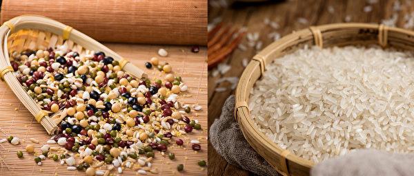 五谷养生,无论白米或糙米、白面或全麦面,应该根据自身体质,均衡搭配食用。(Shutterstock)