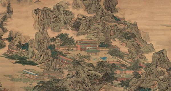 项羽入驻咸阳后,火烧咸阳宫和秦始皇陵,造成了对中国文化的巨大破坏。图为清袁江的《阿房宫图屏》局部。(公有领域)