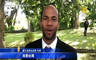 蔡英文抵聖文森 挺台衛生部長喊「我愛台灣」