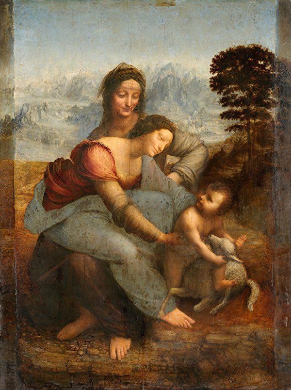 列奧納多·達·芬奇的《聖母瑪利亞和聖嬰與聖安妮》,法國盧浮宮藏。(公有領域)