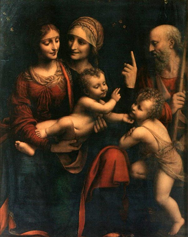 貝納迪諾·盧伊尼(Bernardino Luini),《聖母瑪利亞和聖嬰與聖安妮》(Holy Family With Saint Anne and the Infant John the Baptist),約1503年作,米蘭盎博羅削圖書館藏。(公有領域)