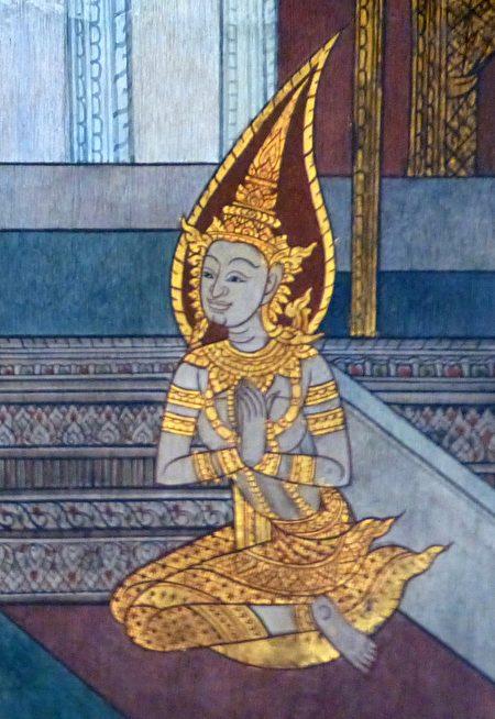 泰国壁画上的耶输陀罗。(Wat Pho, Bangkok/Wikimedia Commons)