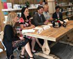 7月15日新民主党国会议员关慧贞和戴伟思在温哥华举行新闻发布会,呼吁联邦政府尽快停止这一行动(大纪元)