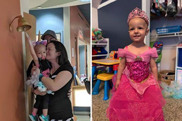 左:2019年6月12日,小麥肯娜在媽媽懷中打響了代表癌症痊癒的鈴鐺。右:從罕見卵巢癌「卵黃囊瘤」痊癒的小麥肯娜。(Fight With Kenni提供)