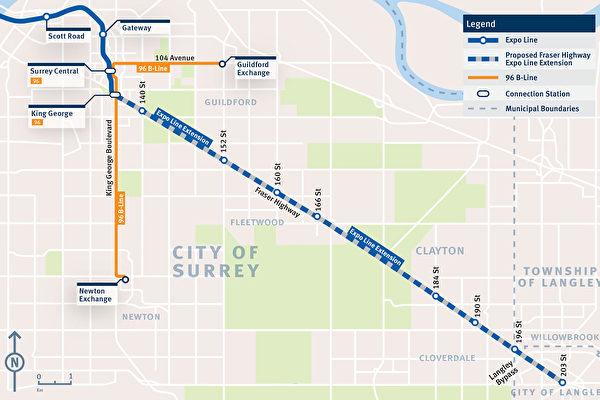 新天車線將延伸至素里市Fleetwood社區的166街天車站。(TransLink)