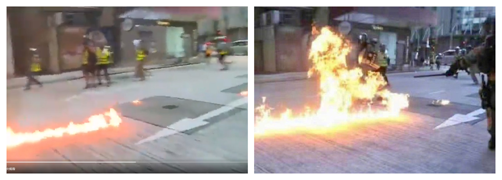Comparison of Petrol Bomb Burning Pictures