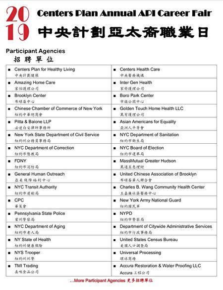"""""""2019中央计划亚太裔职业日""""招聘单位列表。"""