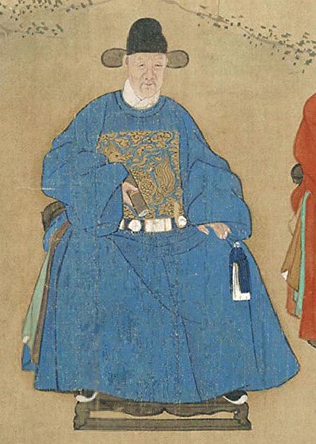 《甲申十同年图》之李东阳像。(公有领域)