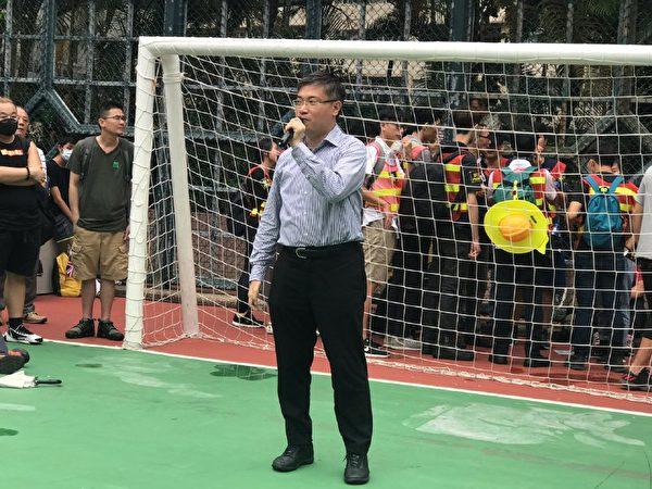 香港時事評論員桑普發言。(林怡/大紀元)