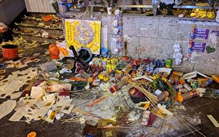 组图:警方太子站清场 祭坛遭破坏