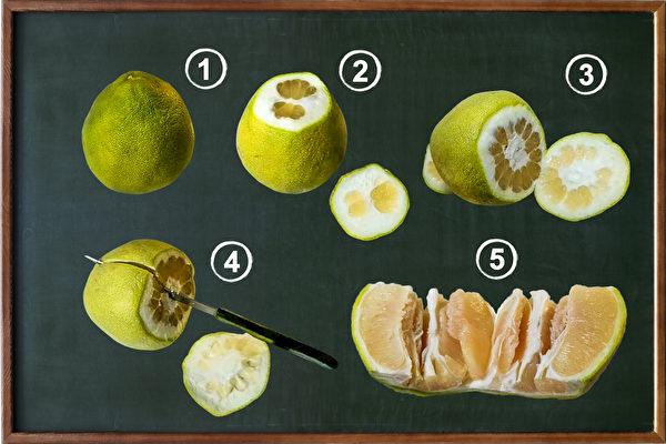 1分钟快速切柚子法 轻松搞定难剥的柚子皮