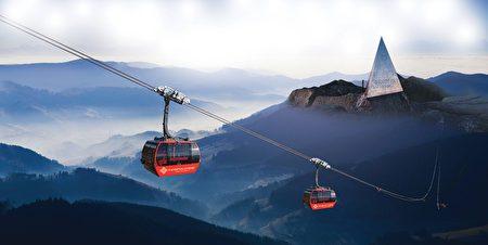搭乘番西邦峰纜車沿途看見夢幻梯田。