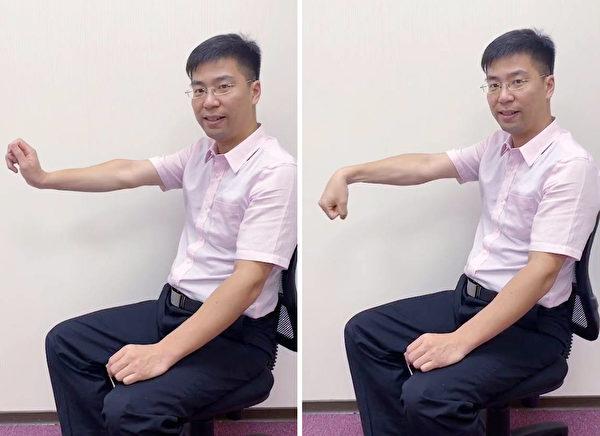 腕隧道症候群患者的保养动作,可缓解手麻等症状。(复健科医师陈冠诚提供)