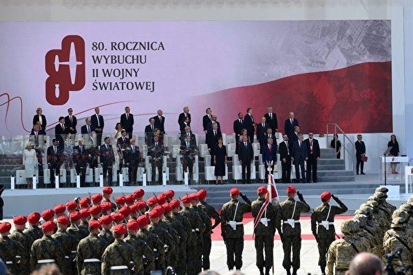 2019年9月1日,波蘭舉行紀念第二次世界大戰80周年紀念活動,圖為在華沙的軍事儀式上。(JANEK SKARZYNSKI/AFP/Getty Images)