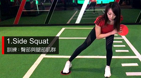 甩肉动作之一:Side Squat。(World Gym提供)