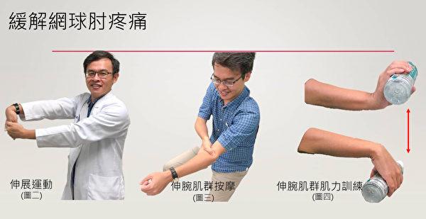 缓解网球肘疼痛的三个方法。 (朴子医院提供)