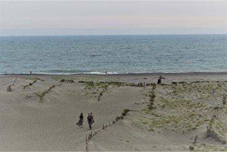 往中田島沙坵頂端攀登,爬到最高點時就看見太平洋了。