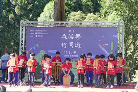 竹山鎮秀林國小竹樂團以輕快的民謠,為竹文化節記者會揭開序幕。
