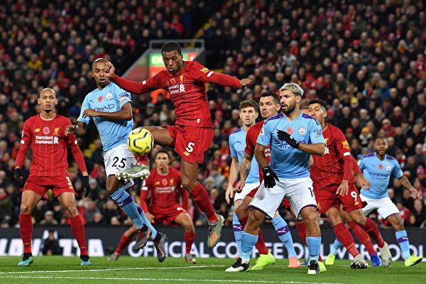 英超第12輪,利物浦主場3:1戰勝曼城