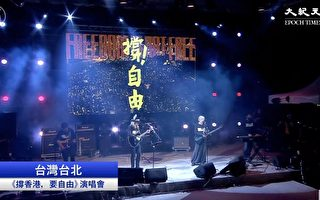 11月17日晚,台灣自由廣場舉行的「撐香港,要自由演唱會」。(大紀元視頻截圖)