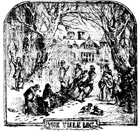 蘇格蘭作家羅伯特·錢伯斯(Robert Chambers)1864出版書籍中的插畫,描述了人們搬著「Yule log」回家準備過聖誕節。(公有領域)