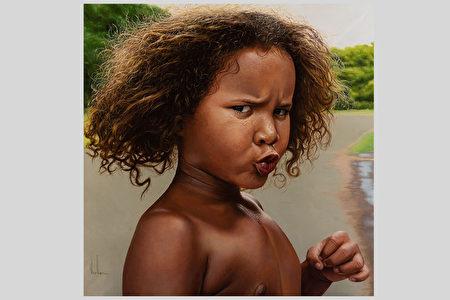 《小斗士》天真无邪 法画家左手绘出壮美油画