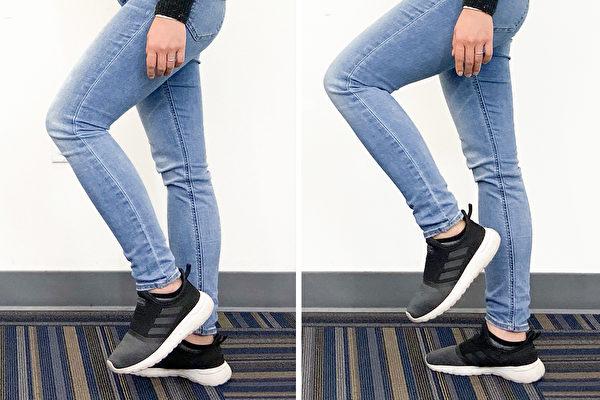 單腳站立方法是抬腳5公分站1分鐘,或抬腳20公分站30秒。(Zoe Zhang/大紀元)
