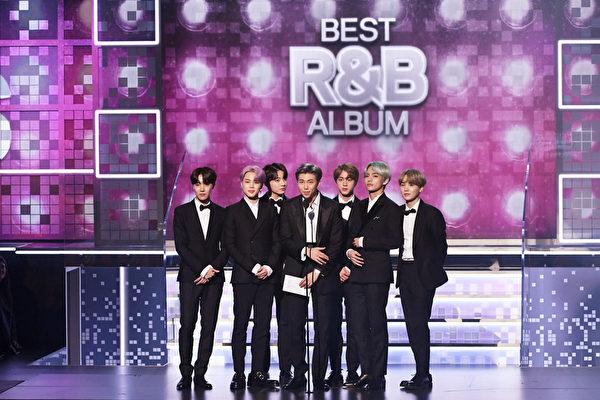 BTS speak onstage during the 61st Annual GRAMMY Awards