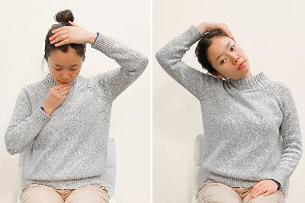改善颈椎不适、缓解颈椎病的保健动作:反向拉筋。(大纪元)