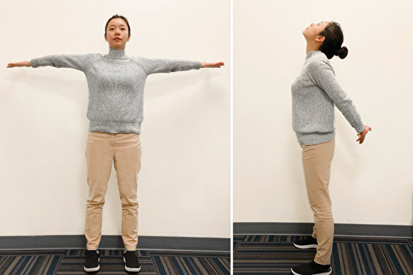 改善頸椎不適、緩解頸椎病的保健動作:反向拉筋。(大紀元)
