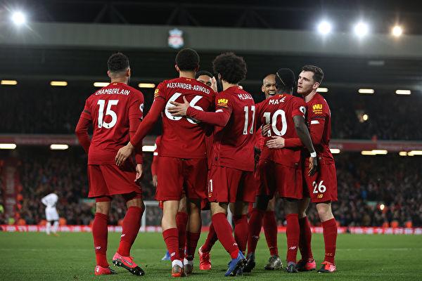英超第27轮,利物浦主场3:2逆转西汉姆