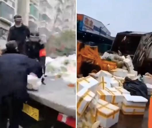 武汉某小区,一批城管抢走业主买下的菜。还有铲车将捐赠给武汉的爱心蔬菜铲入垃圾车。(视频截图)