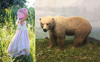 摄影师拍出唯美童话世界 模特和熊合照超浪漫