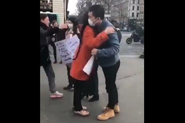 疫情下法國華人在街頭索求擁抱 遭網民砲轟