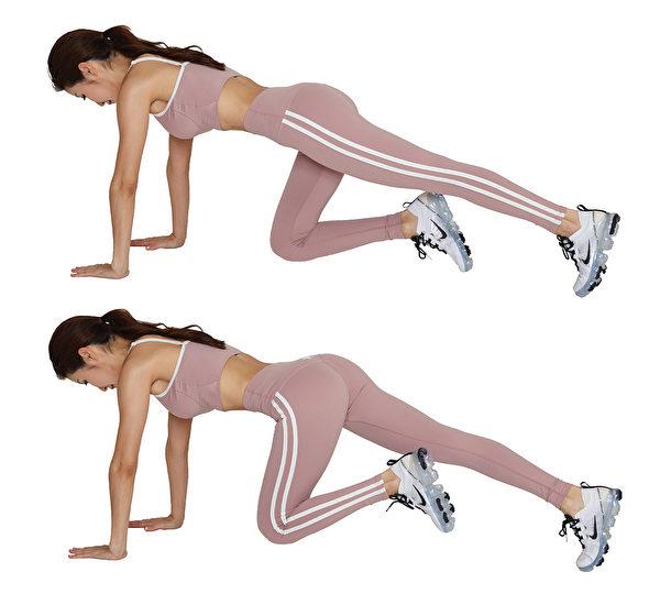 棒式變化腹肌運動1:爬山30秒。(采實文化提供)