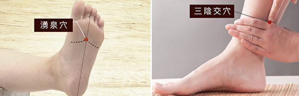 湧泉穴和三陰交穴也可一同用泡腳、按摩的方式,促進血液循環,讓身體變溫暖。(大紀元製圖)