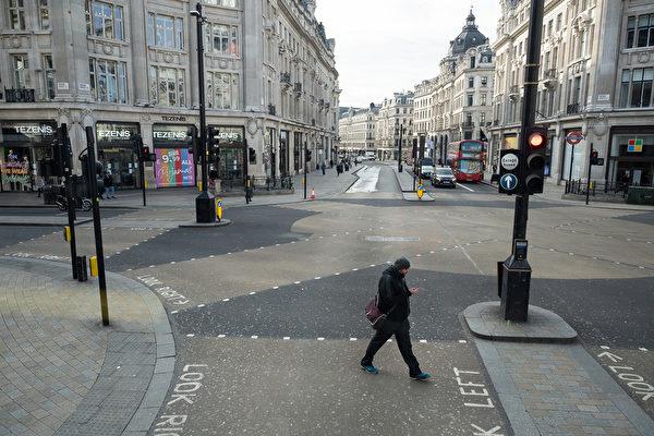 组图:英国疫情蔓延 伦敦街头空荡荡