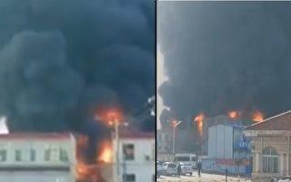河北石家庄正定县一化工厂爆炸起火